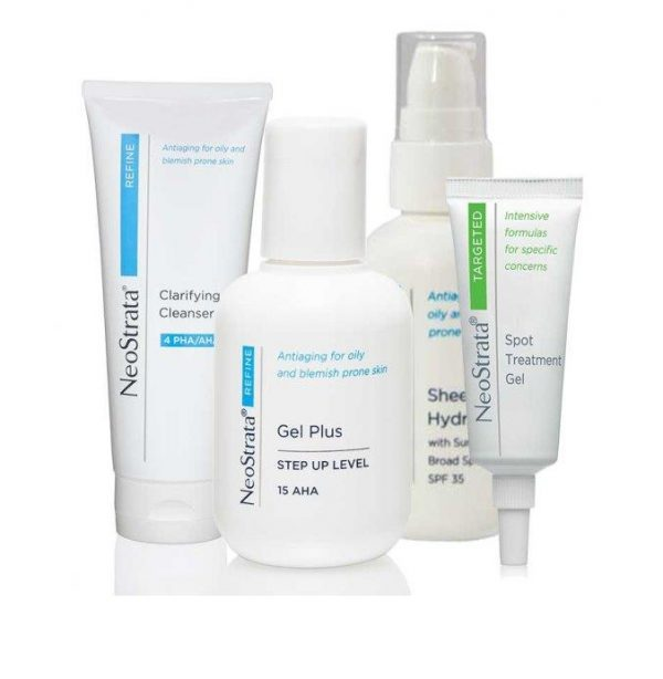 Image is of Neostratas Blemish Prone Pack, consisting of Neostrata Clarifying Facial Cleanser, Sheer Hydration, Gel Plus and Spot treatment