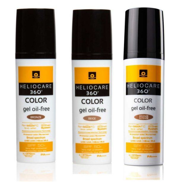 HELIOCARE 360º Color Gel Oil-free SPF50+ Very high full spectrum protection (UVA PA++++ • UVB SPF50+ • HEVL • IR-A) thanks to a combination of chemical & mineral filters and specific ingredients.