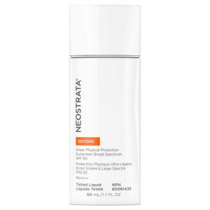 Product photo of Neostrata Defend Sheer Physical Protection Sunscreen SPF50 Broad Spectrum protection against the look of UVA/UVB-induced aging.