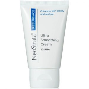 Neostrata Resurface Ultra Smoothing Cream 10 AHA is a potent exfoliating moisturizer that promotes skin rejuvenation.