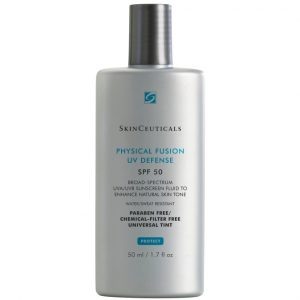 SkinCeuticals Physical Fusion UV Defense Sunscreen, broad spectrum SPF50. UVA/UVB protective fluid used to enhance natural skin tone. Water resistant (40min).